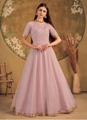 Foil Print Pink Net Designer Gown