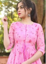 Foil Print Pink Chanderi Readymade Gown
