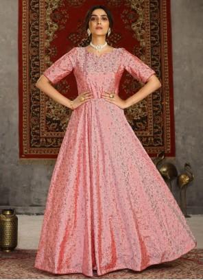 Foil Print Pink Tafeta Silk Designer Gown