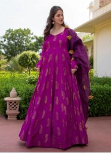 Foil Print Purple Rayon Readymade Suit
