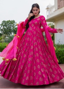 Hot Pink Foil Print Readymade Suit
