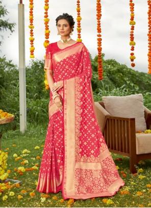 Fuchsia Color Designer Saree
