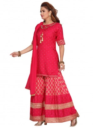 Fuchsia Festival Banarasi Silk Readymade Suit