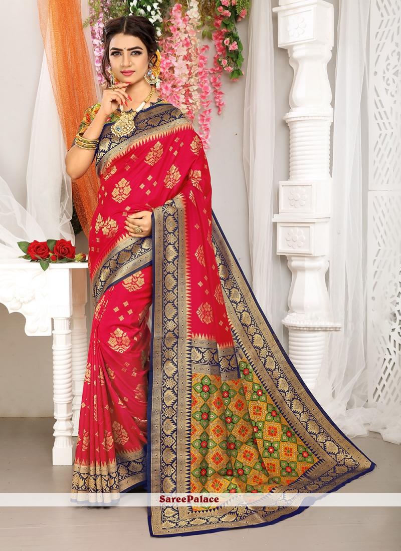 Fuchsia Art Silk Traditional Saree