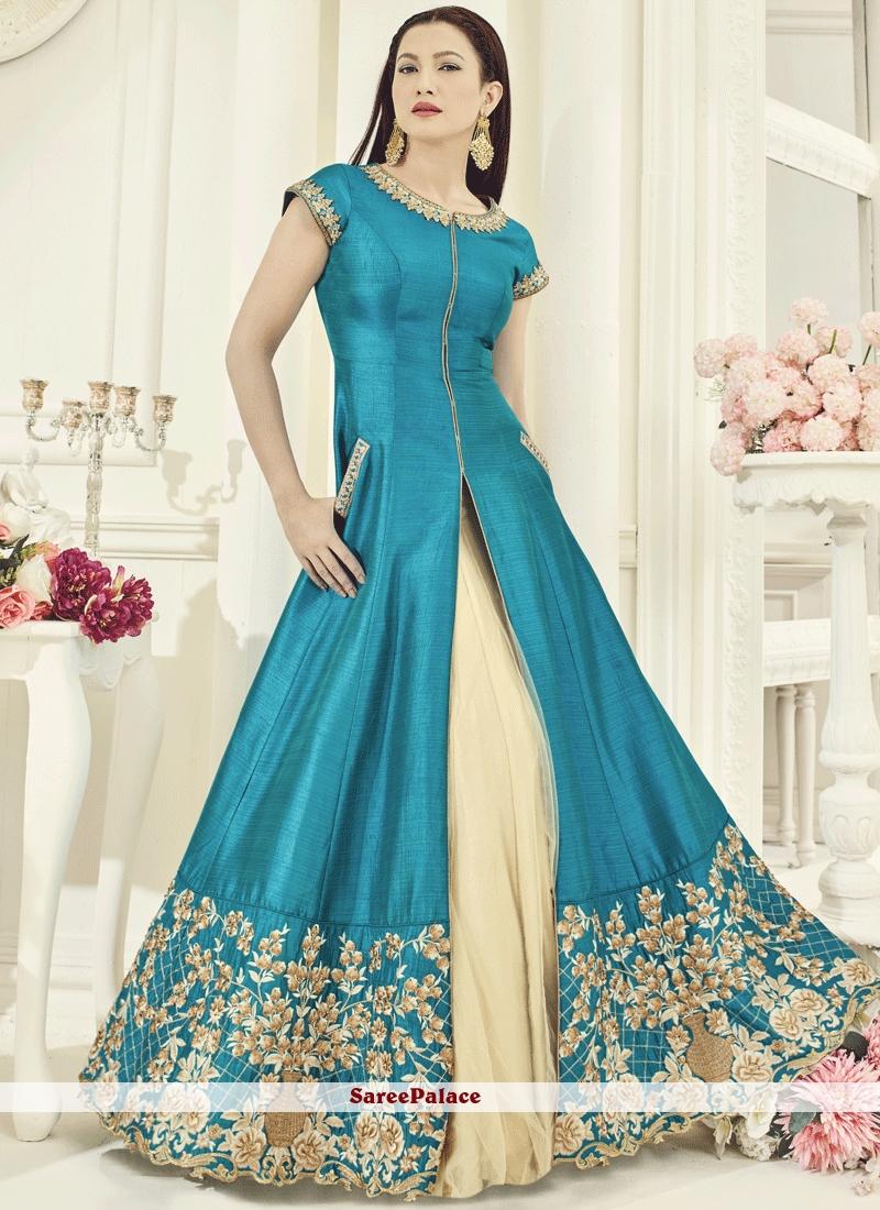 9d8978ed20 Buy Gauhar Khan Embroidered Work Turquoise Art Silk Long Choli Lehenga  Online