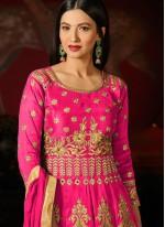 Gauhar Khan Hot Pink Lace Work Floor Length Anarkali Suit