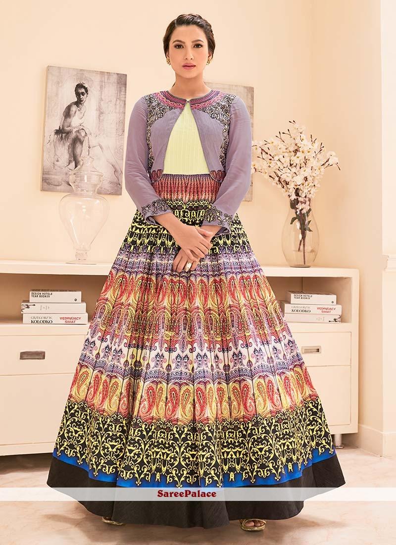 Gauhar Khan Multi Colour Embroidered Work Designer Floor Length Suit