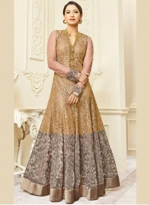 Gauhar Khan Resham Work Beige Floor Length Anarkali Suit
