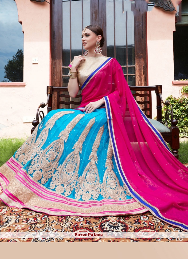 Genius Hot Pink and Turquoise Lehenga Choli