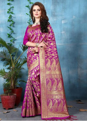 Genius Magenta Weaving Work Art Silk Traditional Designer Saree