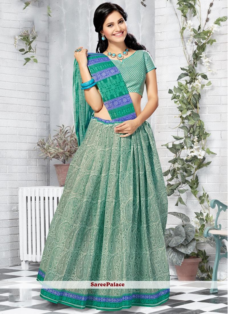 Genius Sea Green Print Work Printed Saree
