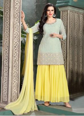Georgette Aqua Blue and Yellow Thread Palazzo Salwar Kameez