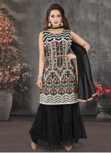 Georgette Black Embroidered Palazzo Designer Salwar Kameez