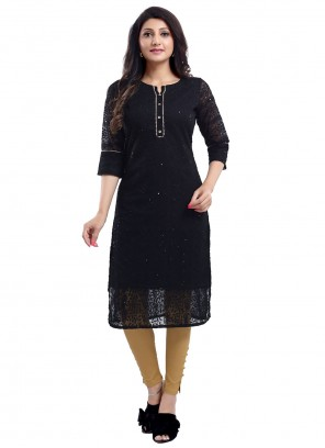 Georgette Black Embroidered Party Wear Kurti