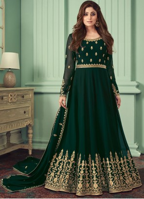 Georgette Black Embroidered Trendy Salwar Kameez