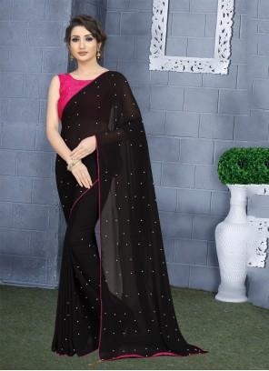 Georgette Black Trendy Saree