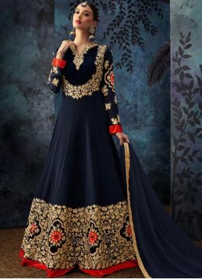 Georgette Blue Anarkali Salwar Suit
