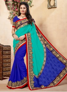 Georgette Blue and Sea Green Classic Designer Saree