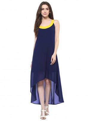Georgette Blue Designer Kurti