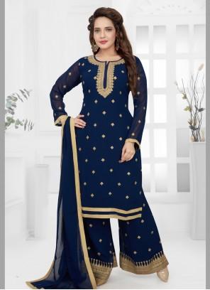 Georgette Blue Trendy Salwar Suit