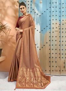 Brown Georgette Border Classic Designer Saree