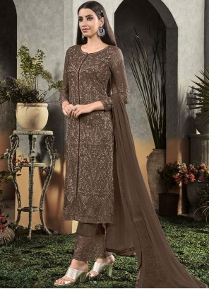 Georgette Brown Designer Salwar Suit