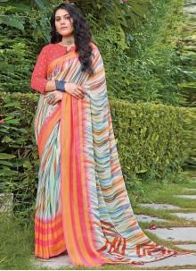 Multi Colour Georgette Casual Classic Saree