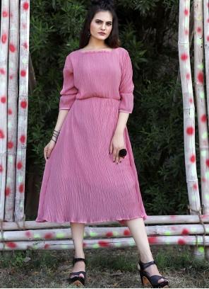 Pink Georgette Casual Designer Kurti