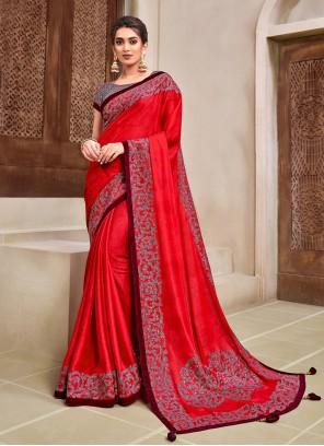 Red Georgette Ceremonial Designer Traditional Saree