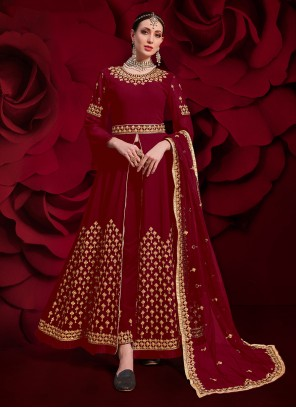Red Georgette Ceremonial Pant Style Suit