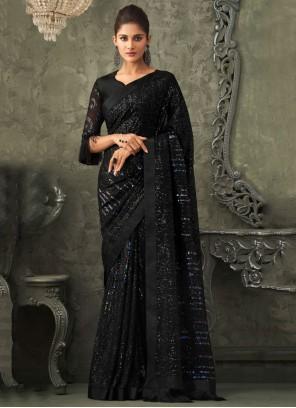 Black Georgette Sequins Classic Designer Saree