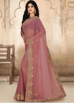 Georgette Classic Designer Saree in Pink