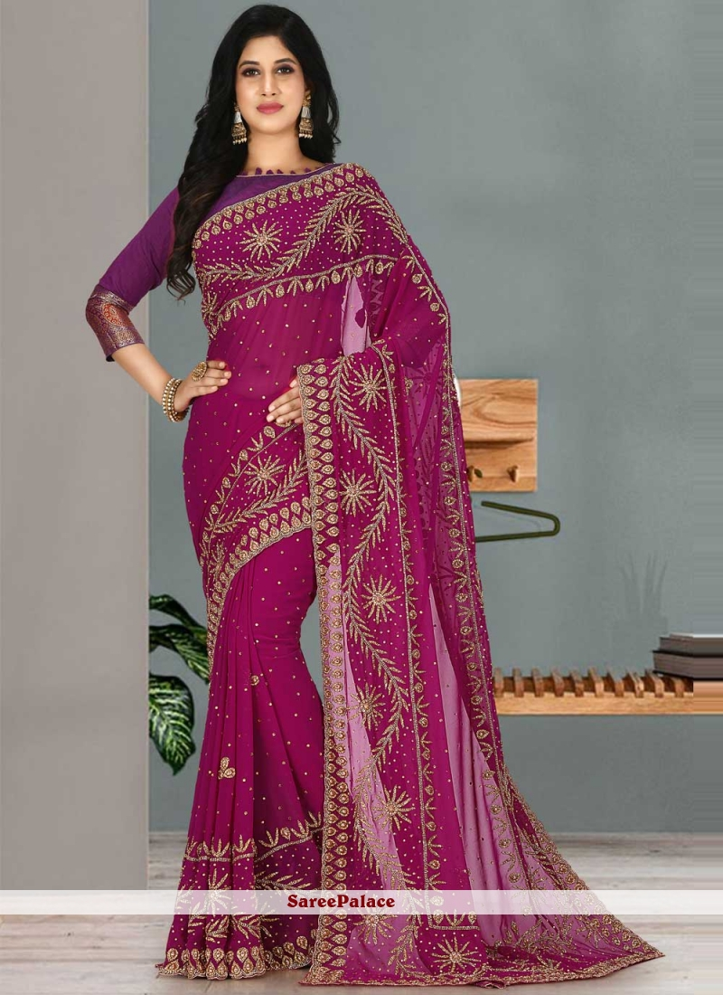 Georgette Classic Designer Saree in Rani
