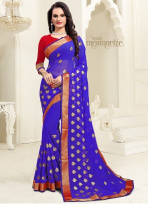 Blue Georgette Embroidered Classic Saree