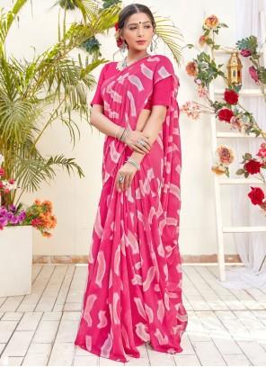 Georgette Digital Print Pink Classic Saree