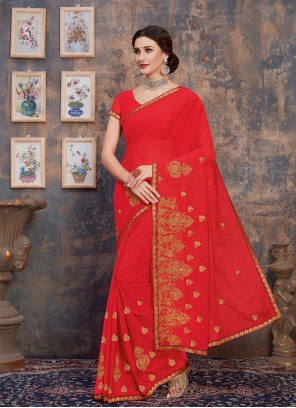 Georgette Classic Saree in Red