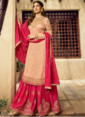 Georgette Cream Designer Salwar Suit