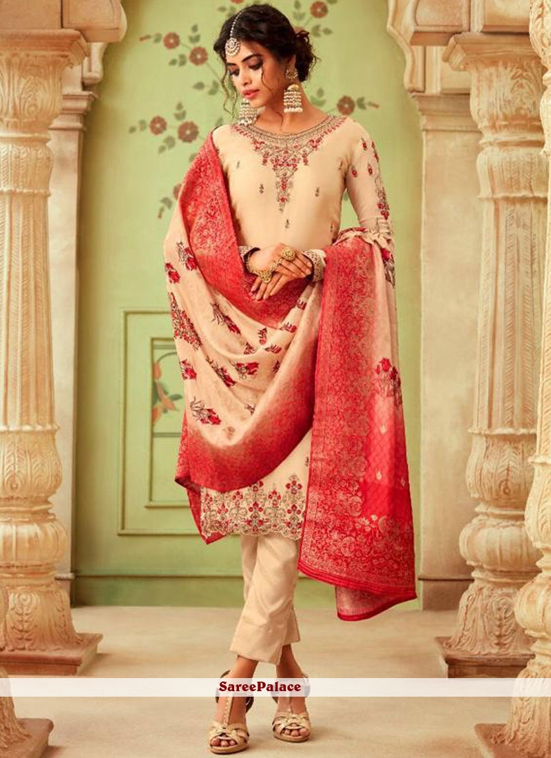 Georgette Cream Embroidered Pant Style Suit