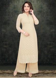 Georgette Cream Resham Palazzo Salwar Suit