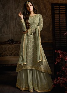 Georgette Designer Lehenga Choli in Green