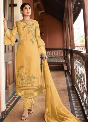 Georgette Designer Salwar Kameez in Yellow