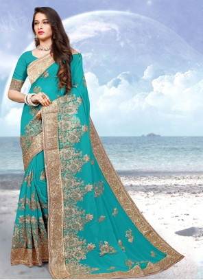 Georgette Designer Saree in Aqua Blue
