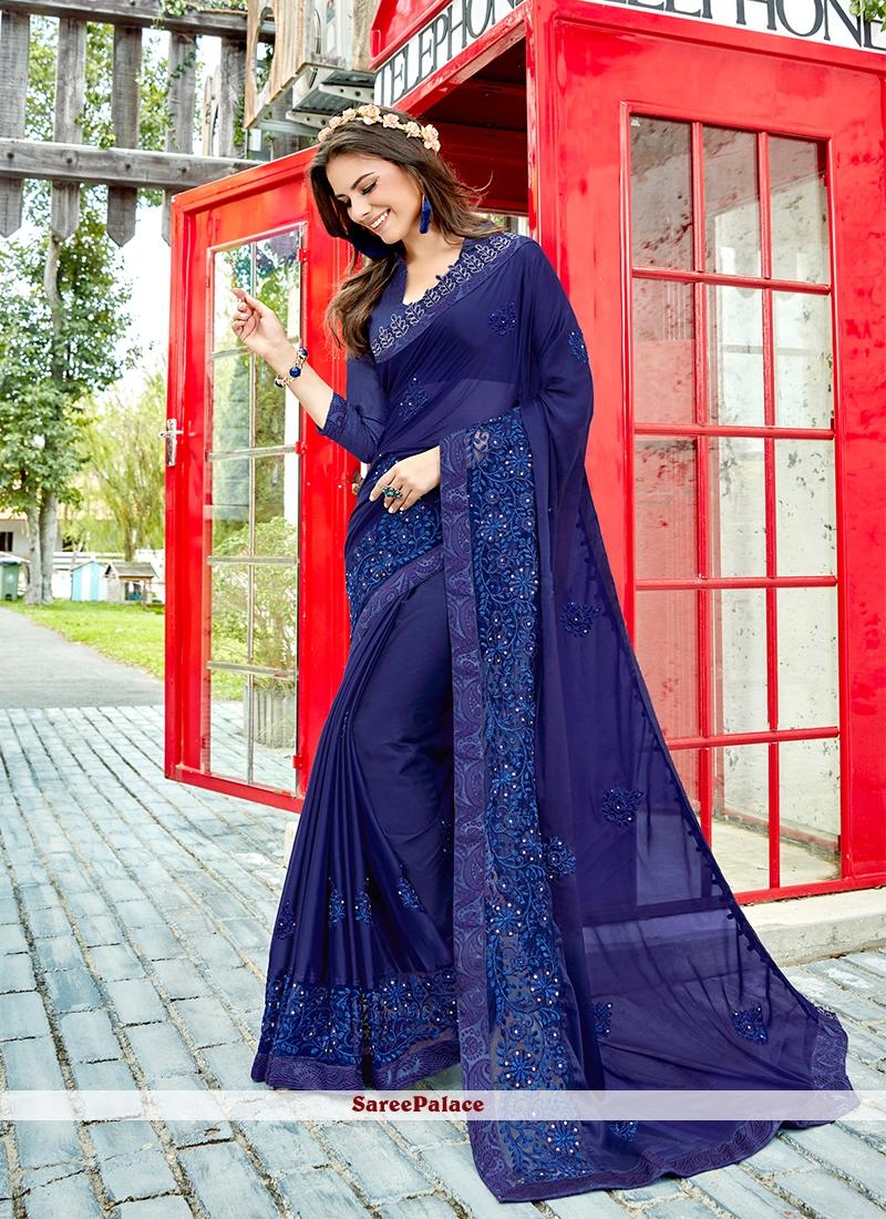 Georgette Designer Saree in Blue