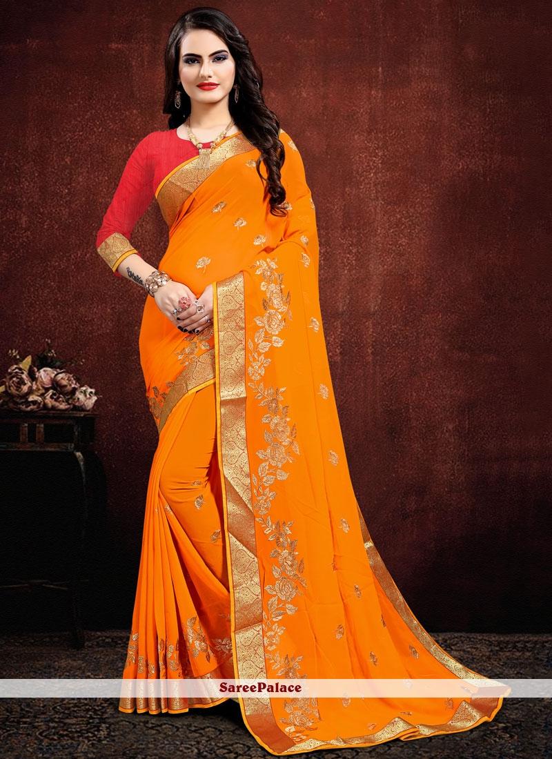 Georgette Designer Saree in Orange