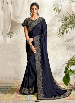 Georgette Navy Blue Designer Traditional Saree