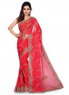 Georgette Designer Traditional Saree in Red
