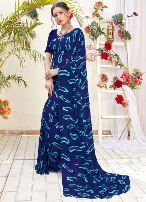 Georgette Digital Print Blue Trendy Saree