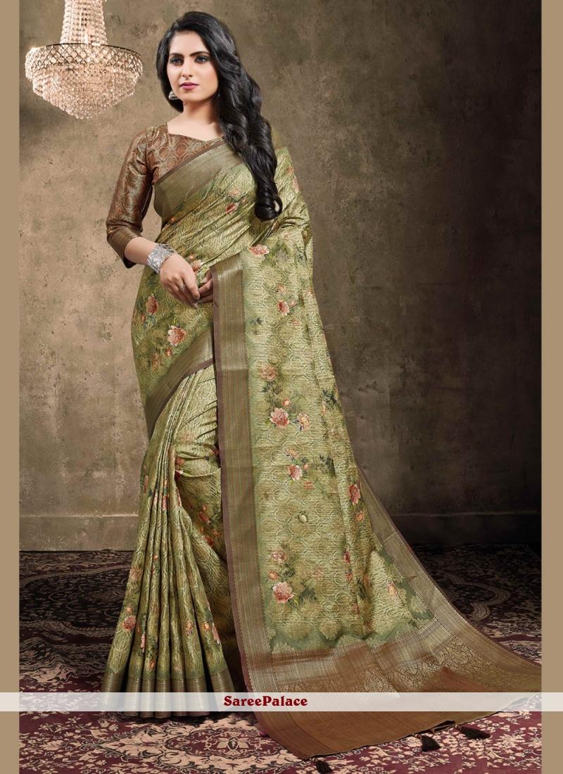 Georgette Digital Print Green Traditional Saree