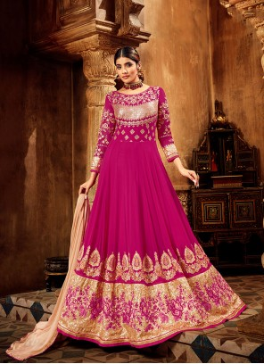 Georgette Embroidered Ankle Length Anarkali Suit in Hot Pink