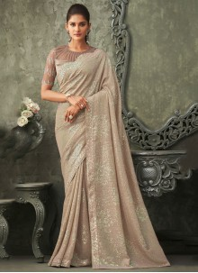 Georgette Embroidered Beige Bollywood Saree